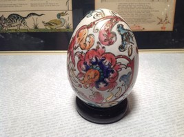 Hand Painted Hand Etched Victorian Style Unique Egg on Brown Wooden Stained Base image 2