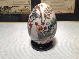 Hand Painted Hand Etched Victorian Style Unique Egg on Brown Wooden Stained Base image 3