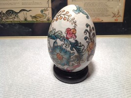 Hand Painted Hand Etched Victorian Style Unique Egg on Brown Wooden Stained Base image 4