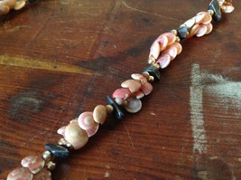 Hand Strung Pink Brown Seashell Necklace with Black Stones and Metal Beads image 2