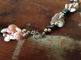 Hand Strung Pink Brown Seashell Necklace with Black Stones and Metal Beads image 4