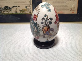Hand Painted Hand Etched Victorian Style Unique Egg on Brown Wooden Stained Base image 5
