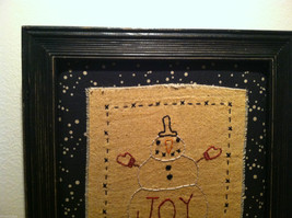 Hand Stitched Joy Snowman Christmas Holiday Framed Picture image 2