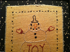 Hand Stitched Joy Snowman Christmas Holiday Framed Picture image 3