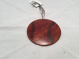 Hand carved multi colored brown shades wooden Baseball ornament double sided image 3