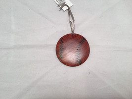 Hand carved multi colored brown shades wooden Baseball ornament double sided image 2