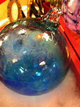 Hand blown large heirloom glass Christmas ornament in blue and teal swirl image 3