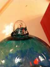 Hand blown large heirloom glass Christmas ornament in blue and teal swirl image 4
