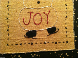 Hand Stitched Joy Snowman Christmas Holiday Framed Picture image 4