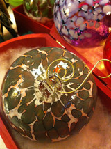 Hand blown large heirloom glass Christmas ornament in green plum and white image 2
