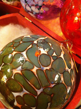 Hand blown large heirloom glass Christmas ornament in green plum and white image 3