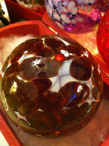 Hand blown large heirloom glass Christmas ornament in green plum and white image 5