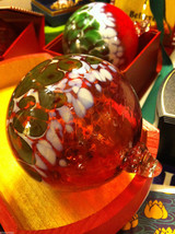Hand blown large heirloom glass Christmas ornament in mauve white and green image 2