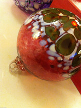 Hand blown large heirloom glass Christmas ornament in mauve white and green image 3
