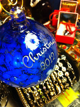 Hand blown large heirloom glass Christmas ornament in blue white etched 2012 image 3