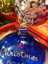 Hand blown large heirloom glass Christmas ornament in blue white etched 2012 image 4