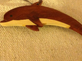Hand carved multi colored grained wood dolphin ornament double sided image 2