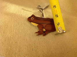 Hand carved multi colored grained wood frog  ornament double sided image 3