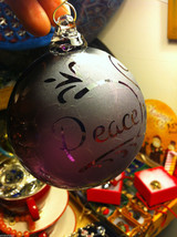 Hand blown large heirloom glass Christmas ornament in purple etched with Peace image 2