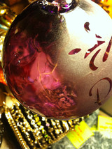 Hand blown large heirloom glass Christmas ornament in purple etched with Peace image 6