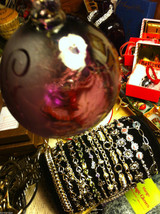 Hand blown large heirloom glass Christmas ornament in purple etched with Peace image 3