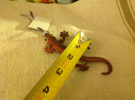 Hand carved multi colored grained wood gecko lizard  ornament double sided image 4