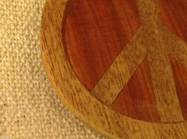 Hand carved multi colored grained wood peace sign ornament double sided image 2