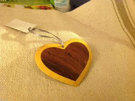 Hand carved multi colored grained wood heart ornament double sided image 2