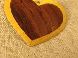 Hand carved multi colored grained wood heart ornament double sided image 3