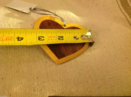 Hand carved multi colored grained wood heart ornament double sided image 5