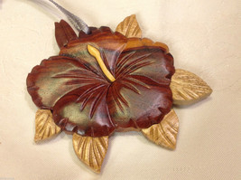 Hand carved multi colored grained wood hibiscus flower ornament double sided image 4