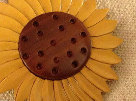 Hand carved multi colored grained wood sunflower ornament double sided image 2