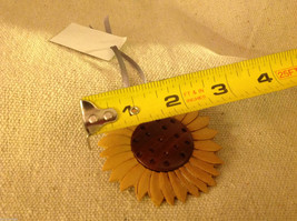 Hand carved multi colored grained wood sunflower ornament double sided image 3