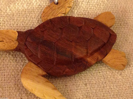 Hand carved multi colored grained wood sea turtle ornament double sided image 2
