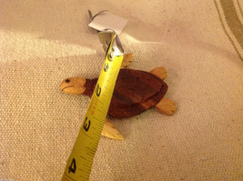 Hand carved multi colored grained wood sea turtle ornament double sided image 3