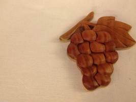 Hand carved wood grapes cluster  Refrigerator or other surface magnet image 3