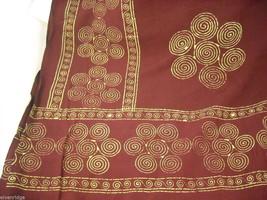 Large Burgundy Shawl wrap scarf with gold color print swirls and fringe image 3