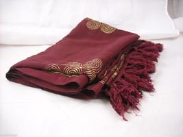 Large Burgundy Shawl wrap scarf with gold color print swirls and fringe image 4