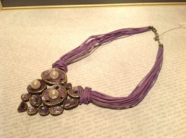 Large Violet Pendant Multi Strand Chains Pendant Necklace Pearls Crystals image 3