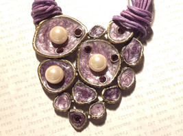 Large Violet Pendant Multi Strand Chains Pendant Necklace Pearls Crystals image 2
