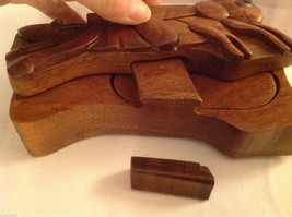 Hand carved wood puzzle box cute grasshopper or cricket image 4