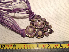 Large Violet Pendant Multi Strand Chains Pendant Necklace Pearls Crystals image 6