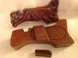 Hand carved wood puzzle box cute grasshopper or cricket image 5