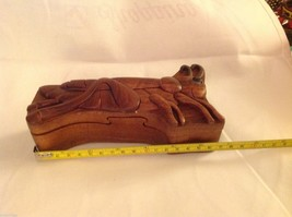 Hand carved wood puzzle box cute grasshopper or cricket image 7