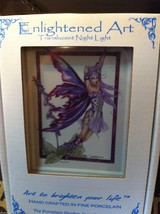 Hand painted  Porcelain Night light with bulb purple foxglove garden fairy image 3