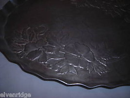 Hand forged vintage aluminum oval tray engraved image 2