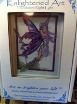 Hand painted  Porcelain Night light with bulb purple foxglove garden fairy image 4