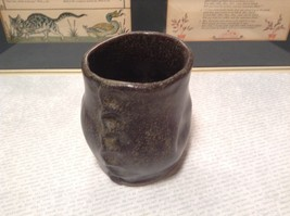 Handcrafted Artisan Made Ceramic Dark Brown Cup Mug Speckled Glaze image 3