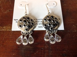 Handcrafted 925 Sterling Silver Dangling Earrings Onyx Faceted Round Crystals image 2