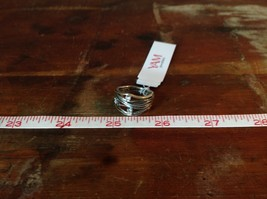 Handcrafted 925 Sterling Silver Ring Multiband Gold Bands Stacker CZ Size 7 OR 8 image 6